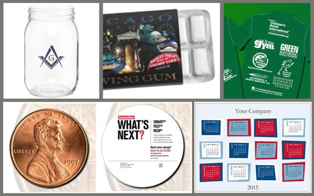 Clockwise from top left: Mason Jars, Custom Gum, Tshirt Sponsor, Calendar Magnet and Die Cut Postcard.